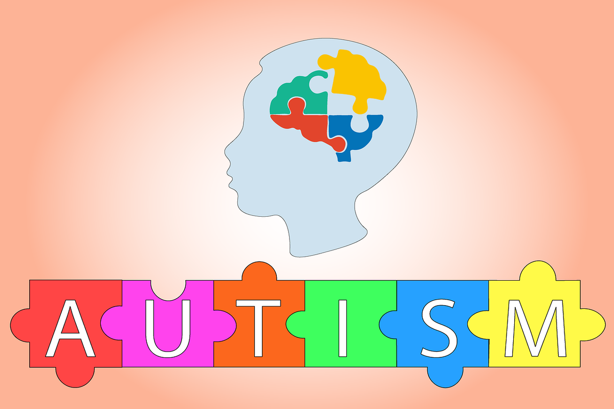 autism words on colorful puzzle, brain icon