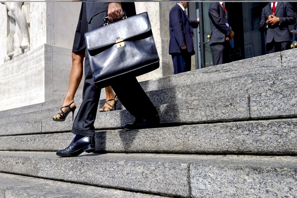 attorneys stepping down on stairs